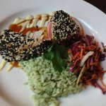 Delicious ahi tuna with double drizzles of wasabi mayonnaise and teriyaki.