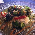 Roasted broccoli with garlic and red pepper, on a bed of ricotta. So delicious.