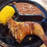 2 piece chicken with corn and beans
