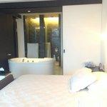 Huge bathtub with sliding door
