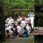 Praying ceremony at side temple of Pura Luhur Batukaru