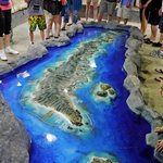 A 3d map of Roatan Island. That's real water around it!