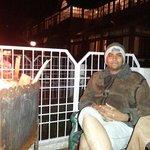 Private born fire in garden of hotel