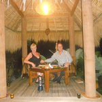 Romantic dinner in the rice paddy