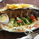 Grilled Sea Bass with Lemon Garlic Sauce