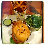 Hake Fish Sandwich with Cucumber Tarragon Sauce, Fries and Baby Arugula Salad.