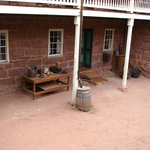 In the courtyard of the fort building.