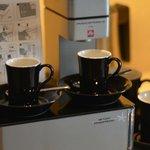 Espresso machine in the room was a plus