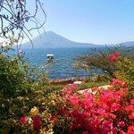 Garden, lake, volcano