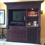 T.V. and mini bar of the Beachfront Penthouse Club level suite in the Dutch Village