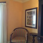 chair and table in the Beachfront Penthouse Club level suite in the Dutch Village