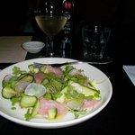 starter fish crudo and Amisfield sauvignon blanc $ 16.00 + 13.00