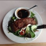 Delicious steak salad with homemade balsamic vinaigrette.
