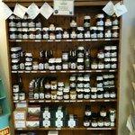 Selection of jams, chutneys and sauces we sell