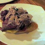 braised beef-tongue, pickled shallots