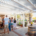 Stepping out the backdoor of the tasting room toward the lawn.