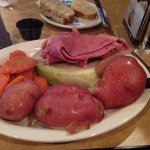 Corned beef and cabbage with potatoes and carrots