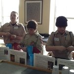 Scouts making paper.