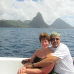 Pictures in front of the Pitons