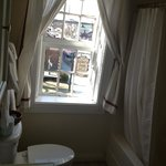 The bathroom with a view in the Anton Heinrich Room. Do not shut the door all the way....the doo