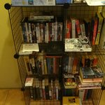 Nice selection of books, DVDs, local info