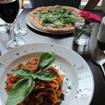 Vegetarian pizza & pasta + 2 large wines for £35 > Great Value