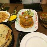 Chicken Tikka Biyrani, chicken Jalfrezi & Keema Naan & chips - Lush!