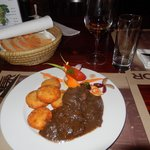Dinner of Venison Stew with Hungarian Potatoes