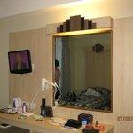 T.V, mirror, hairdrier in Room 302