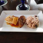Swordfish, rice and beans, and fried plantains!
