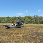 It was our first time in the airboat; its really neat to go on land and water and through the ru