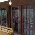 The sliding door at the veranda