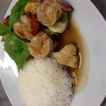 stir fried prawns with rice