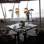 beach front restaurant, setting up for Balinese Dance show