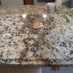 Ugly mismatched countertops.