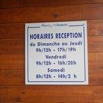 horaires de la réception