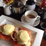 Yum! Eggs Royale with added bacon & a full English. 2 pots of tea. £25.