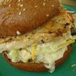 """""""Asian Style"""" (wasabi) Fish Burger - Coconut's Fish Cafe, 1279 S. Kihei Rd., Kihei, Maui, HI"""
