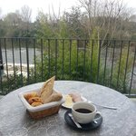 Breakfast on the patio over looking the river