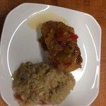 vegitable risoto and crispy fish with pepper compote