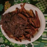 beef and sweet potato fries