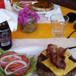 bacon cheeseburger and spicy mango chicken burger