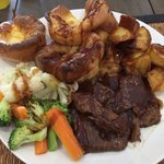 Delicious roast beef with all the trimmings including homemade yorkshires!