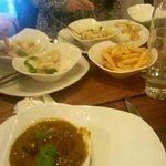 Rendang curry & Thai green curry with rice and chips
