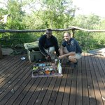 Our Ranger Ferdie and Tracker Rector with morning coffee