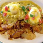 Eggs Benedict with Green chili Halliday sauce!!!!
