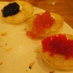 Caviar selection on blinis