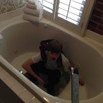 fantastic soaking tub in suite bathroom - son showing depth