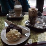 Sacher torte and coffee