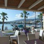 Utsikt från frukostaltanen mot hamnen